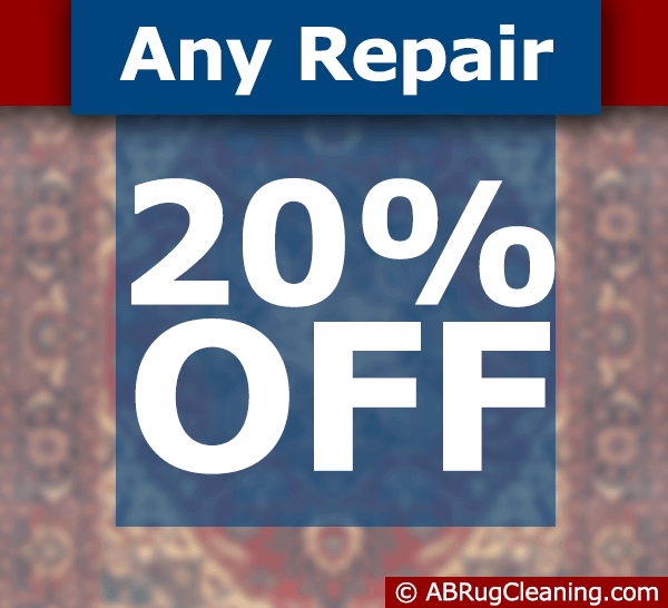 Get 20 percent off with any are rug repair
